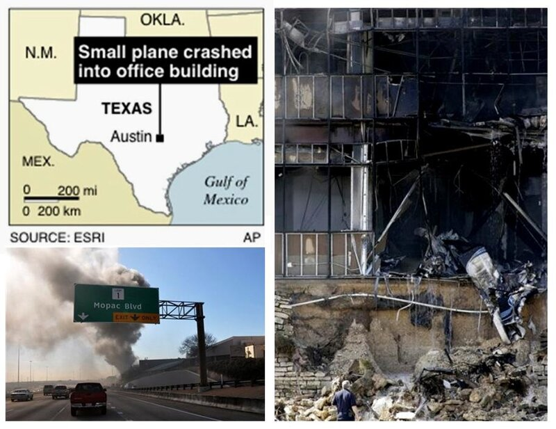 В здание налоговой службы в Техасе врезался самолет, Остин, штат Техас, 18 февраля 2010 года.