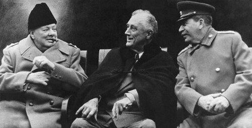 Черчилль, Рузвельт и Сталин в Ялте, 1945