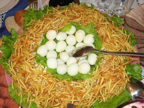 Салаты гнездо в фото