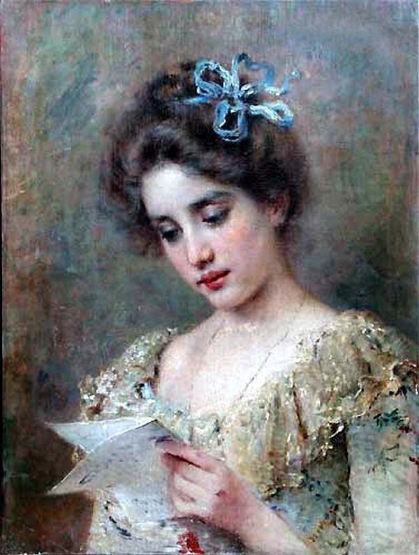 Читает женщина ПИСЬМО.