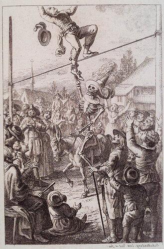 Смерть акробата на карнавале. F.R. Schellenberg. Freund heins Erscheinungen. Winterthur : Heinrich Steiner und Comp., 1785. Page 0.1.
