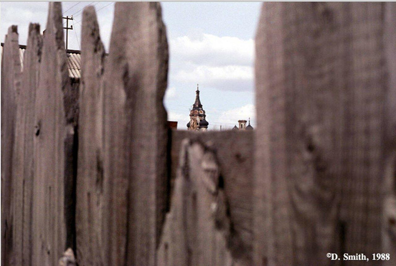 Купола Князе-Владимирской церкви на улице Каштаковской, 58, снятые через деревянный забор