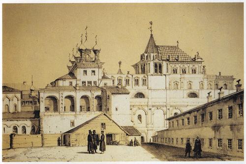Москва. Теремной дворец. Литография А. Дюрана. 1839 г. РГБ ИЗО