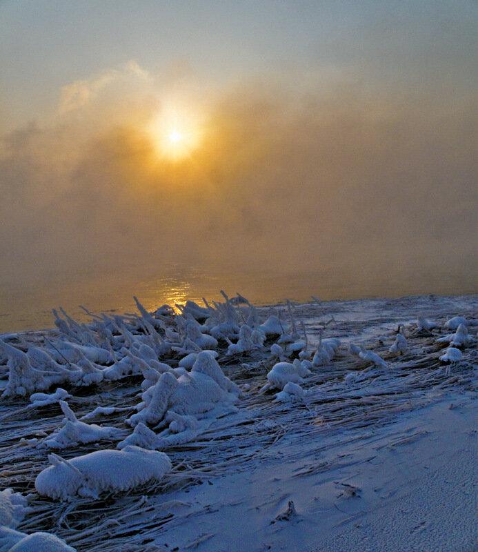 Снежные фигуры на берегу