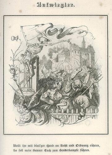 Aufwiegler. C. Merkel. Bilder des Todes ober Todtentanz für alle Stände. n.c. : n.p., 1850, Plate 14.