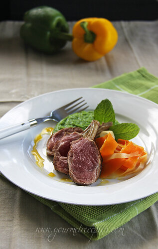 Gourmet Recipes: Lamb Cutlets, Minted Pea Purée, Ribbons ...