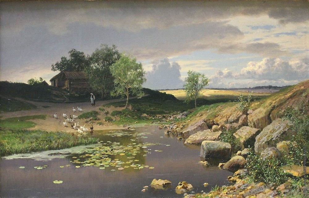 А. Киселёв. Пейзаж с гусями 1889.jpg