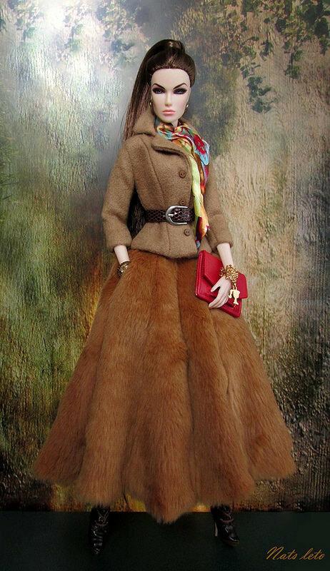Осенний наряд с меховой юбкой