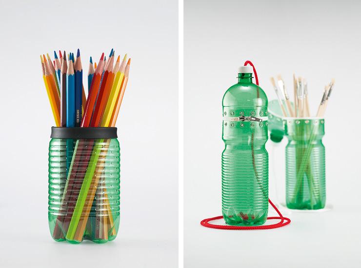 Как сделать подставку для ручек из бутылки пластиковой