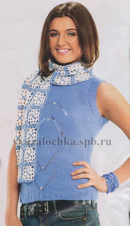 Комплект топ спицами и шарф