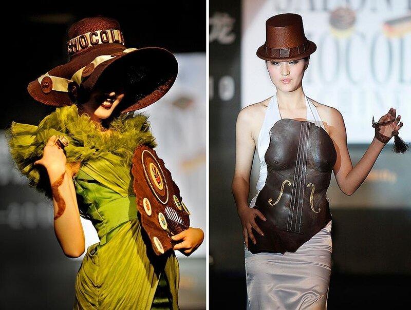 Мода на шоколад: платья, обувь и сумки из шоколада.