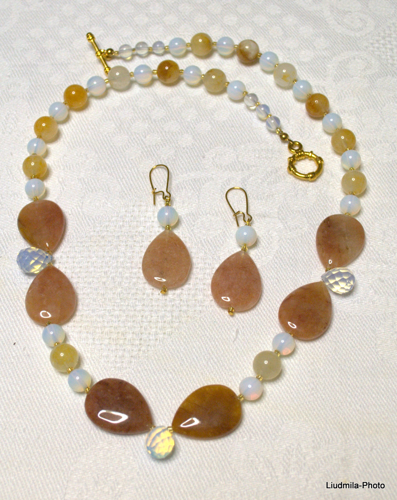 opal,brown opal,necklace,gift,earrings,opalite,jewelry, semiprecious stones