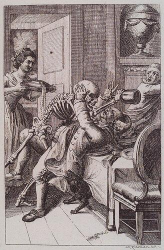 Семь смертных грехов: обжорство. F.R. Schellenberg. Freund heins Erscheinungen. Winterthur : Heinrich Steiner und Comp., 1785. Page 0.94.