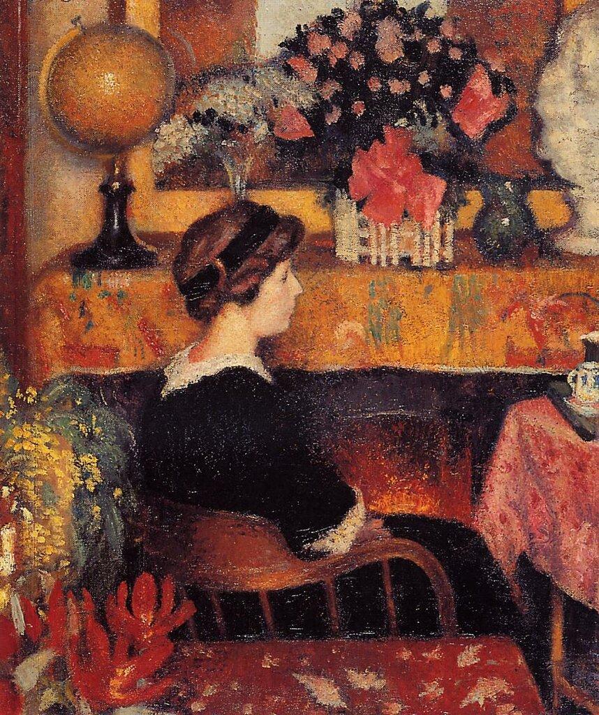 Georges Lemmen - Madame Lemmen in a Flowery Interior, 1913.jpeg