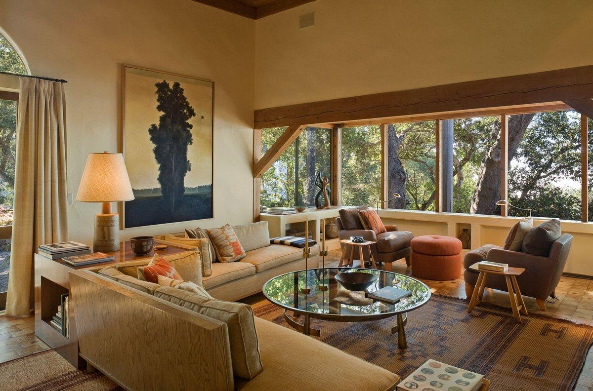 отделка загородного дома деревом, Studio Schicketanz, Big Sur, дом с видом на океан, реставрация частного дома, одноэтажные дома из дерева