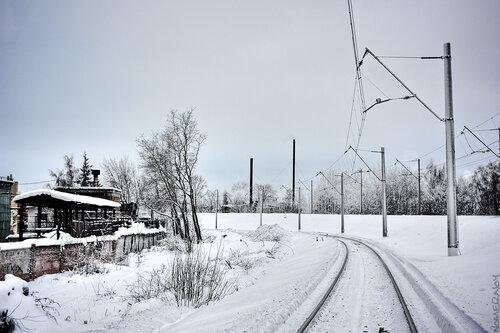 Зимний железнодорожный пейзаж