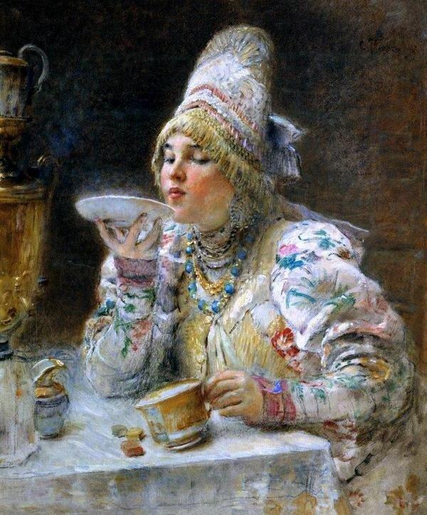 К.Маковский За чаем.