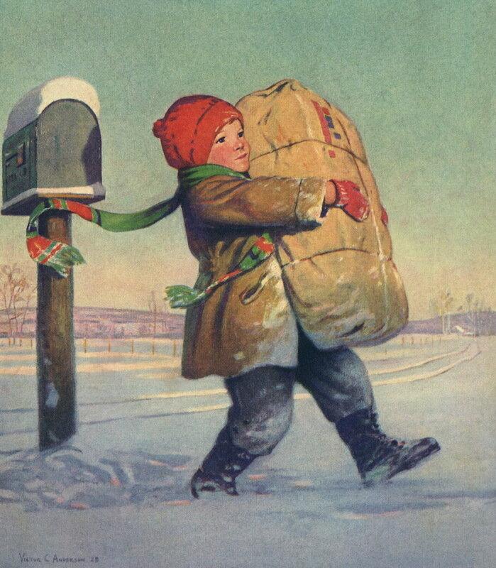 Винтажные старинные открытки почтальон, открытка для мальчика