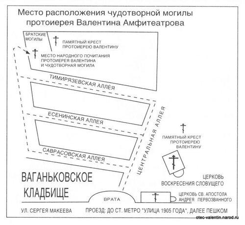 Схема прохода к могиле прот. Валентина Амфитеатрова