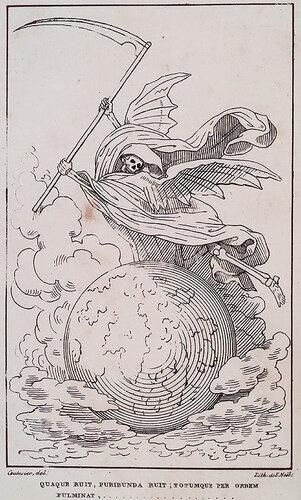 Quaque ruit, furibunda ruit; totumque per orbem fulminat,... Ovid. ad Lisiam. Gabriel Peignot. Recherces Historiques et Littéraires sur les Danses des Morts. n.c. : n.p., 1826, Plate faceplate.