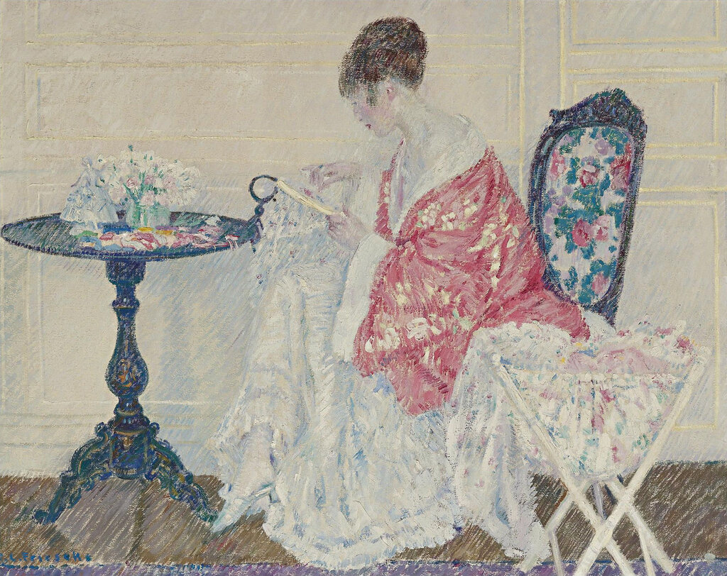 Frederick Carl Frieseke - Girl Embroidering, 1914.jpeg