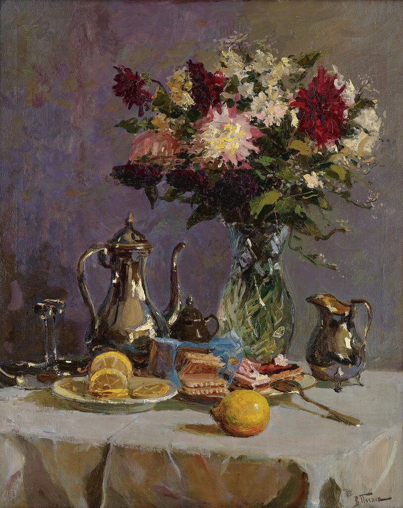 Vladimir Pchelin - Still Life with Teapot and Flowers.jpeg