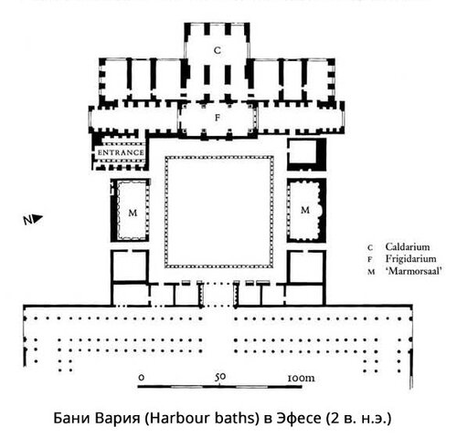 Термы Вария в Эфесе, план