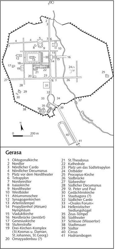 Схема античного города Герасы, Иордания