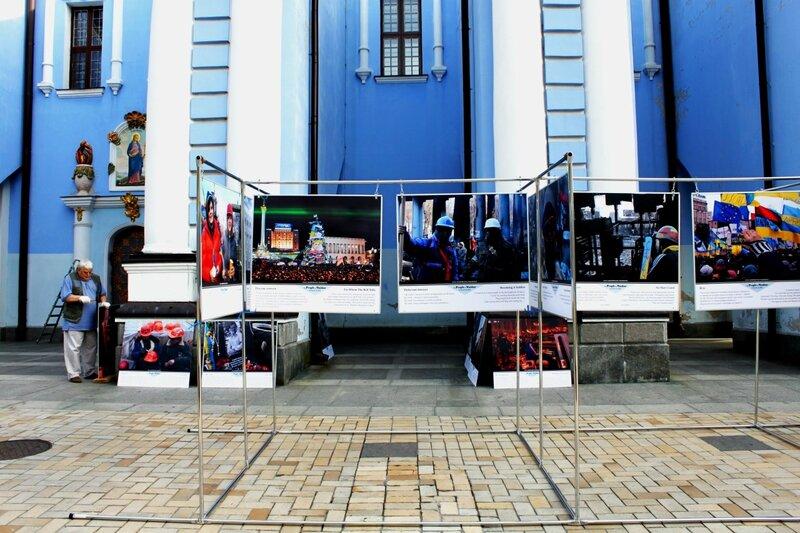 Стенды фотовыставки в Михайловском монастыре