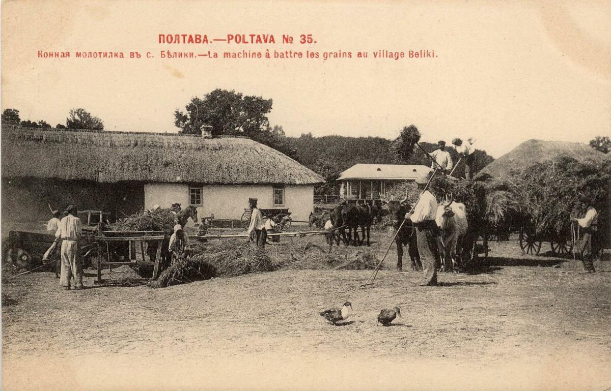 Село Белики. Конская молотилка