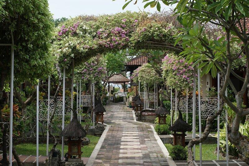 Скромный садик в отеле Bali Taman Spa&Resort на северном побережье Бали в Ловине