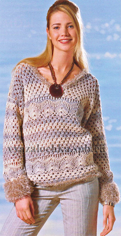 меланжевый пуловер крючком