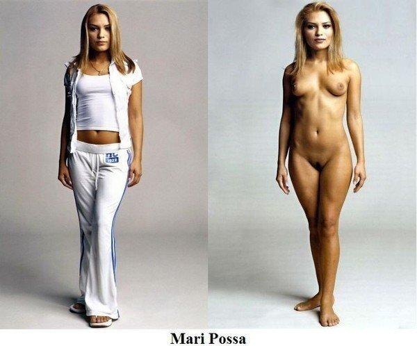фото женщины в одежде и голой