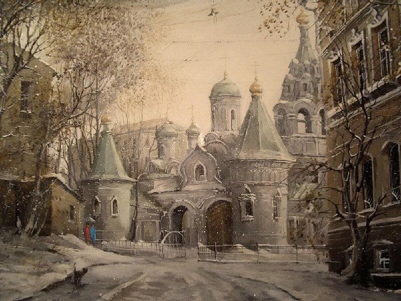 Картины Александра Стародубова завораживают любителей московской старины - на них город выглядит неотразимо красивым...