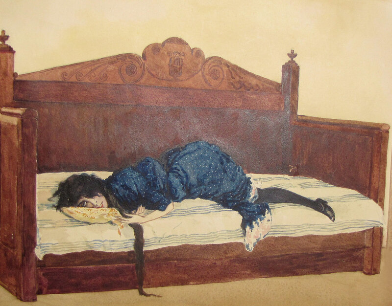 Ольга Конская. Рисунок театрального художника Евгения Николаевича Иванова (1891 - 1940).