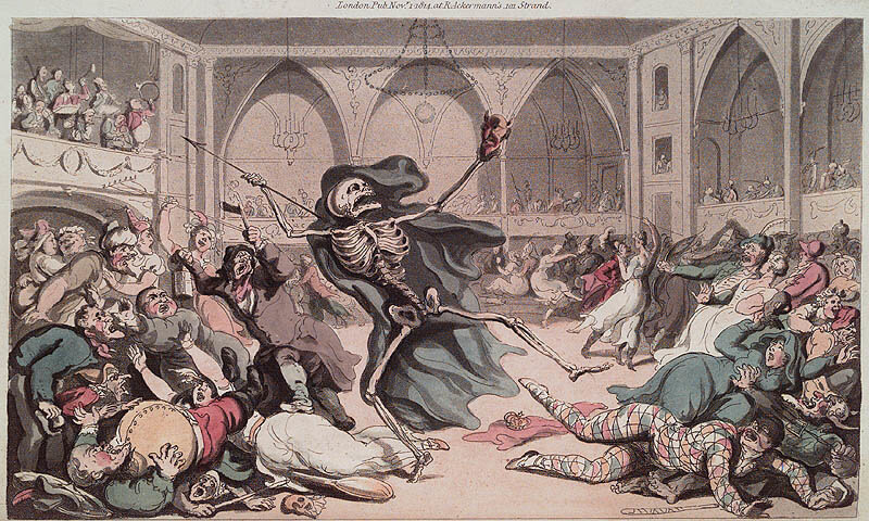 Конец маскарада жизни. Thomas Rowlandson. The English Dance of Death. London : R. Ackermann, 1815. Page 0.119.