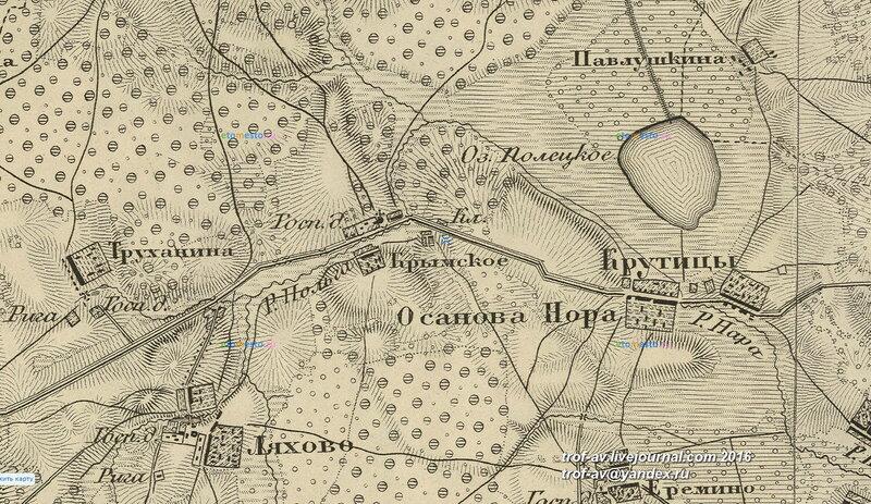 Крымское на карте Шуберта, 1860 г.