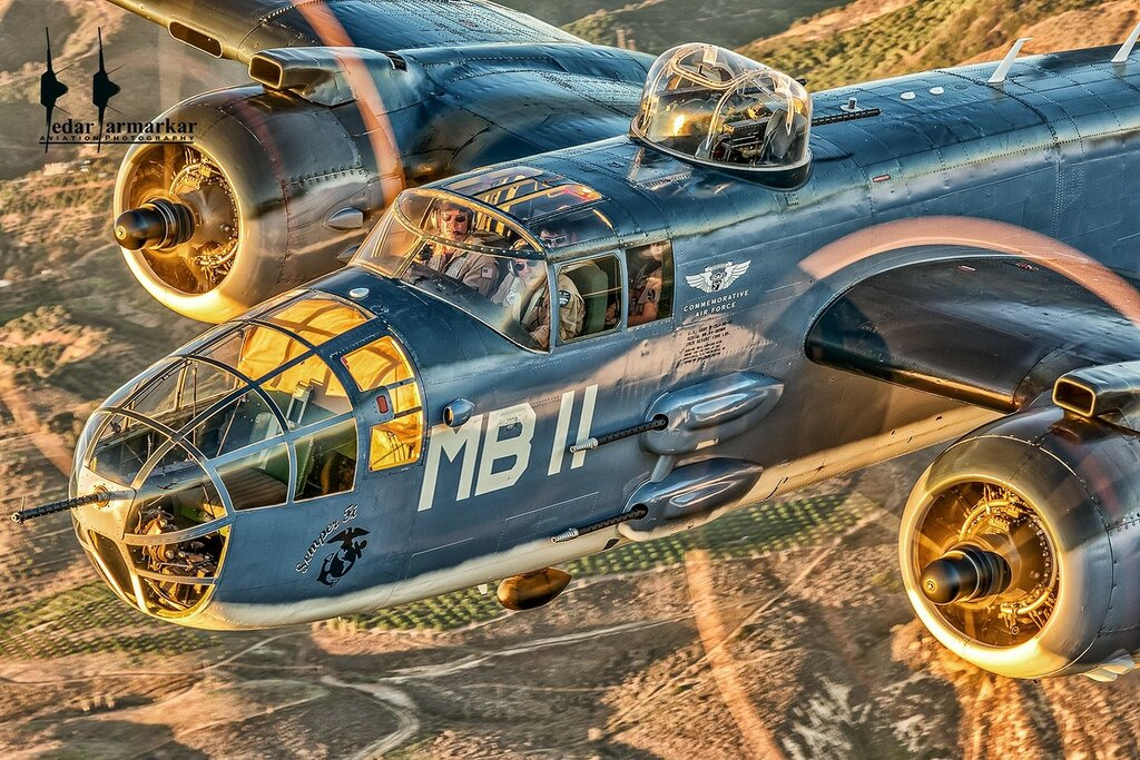 Caf SoCal's PBJ-1J piloted by Jason Somes and crew at sunset.