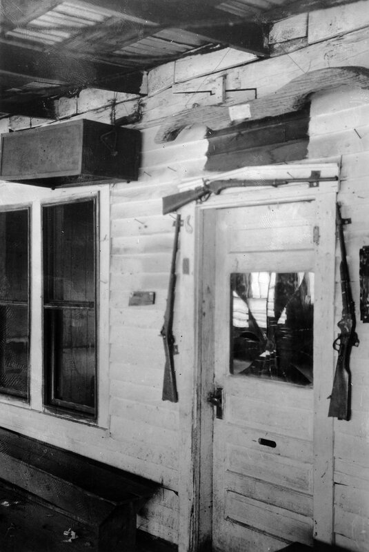 Meeker Museum Greeley. Rifles are mounted on the doorframes of this museum in Greeley, Colorado. between 1930 and 1960.