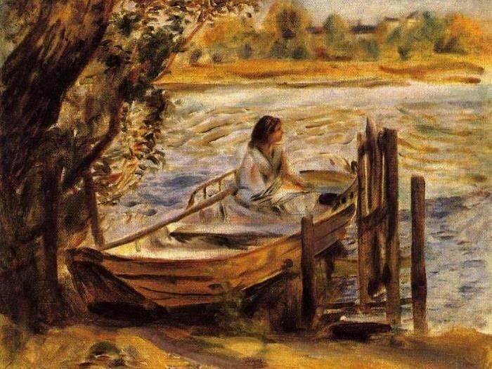 Огюст Ренуар. Молодая женщина в лодке, 1870