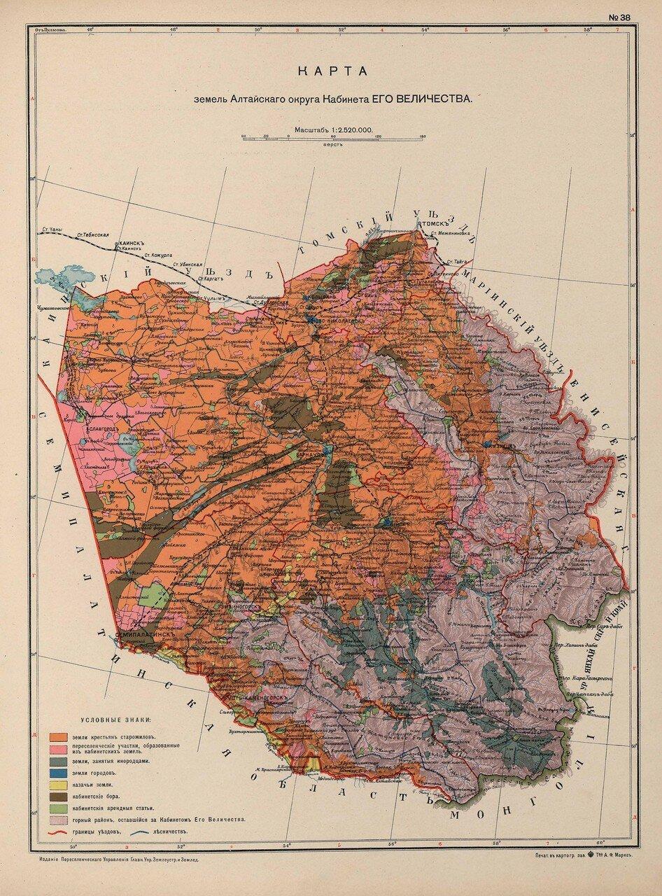 34. Карта земель Алтайского округа кабинета его Величества