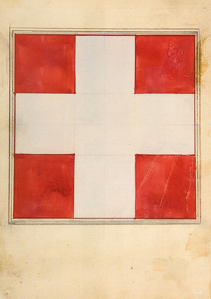 1923. Илья Чашник. Белый крест на красном фоне