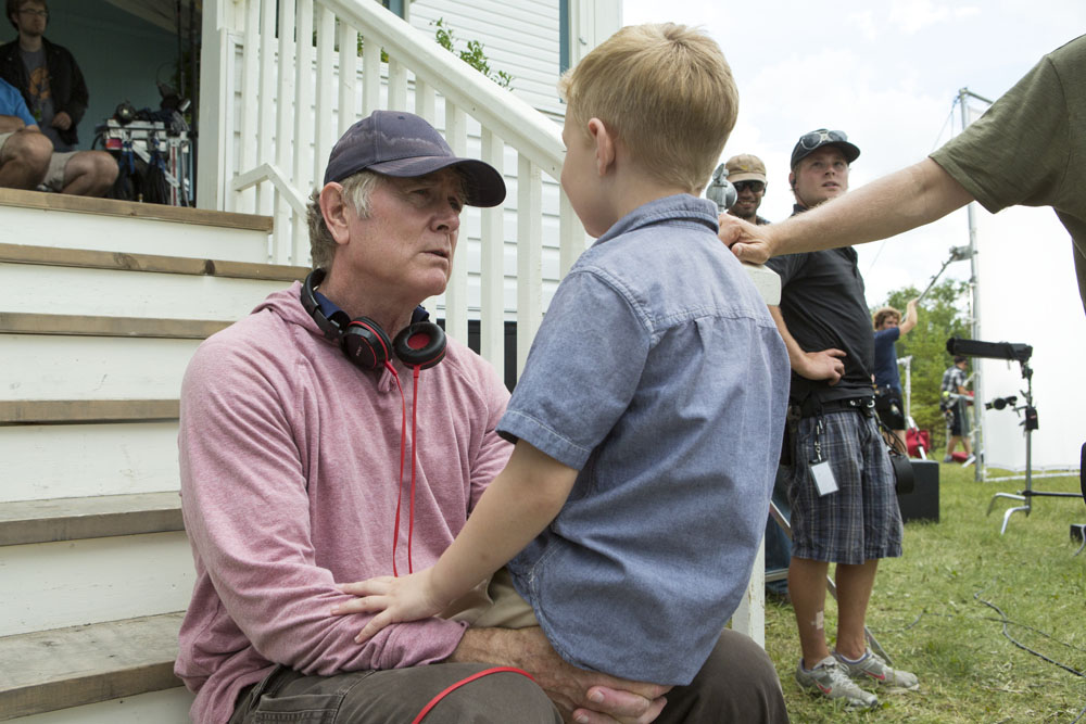 Connor Corum (right) and director Randall Wallace on the set of TriStar Pictures' HEAVEN IS FOR REAL.