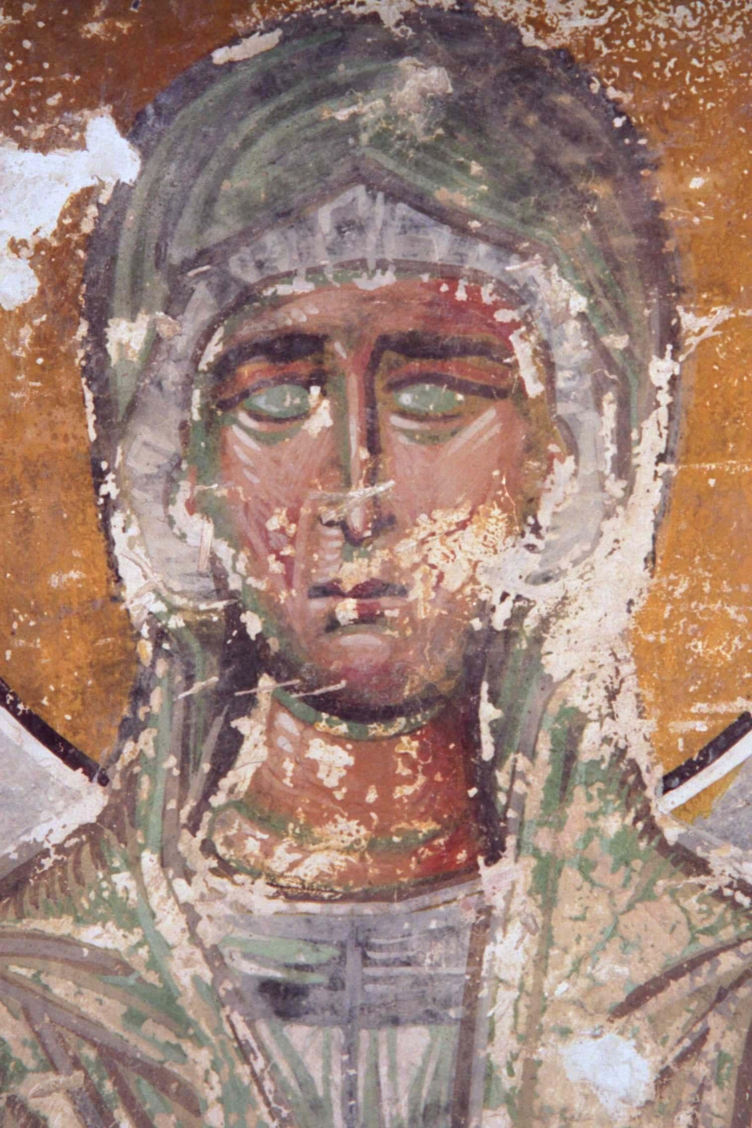 Святая Праведная Елисавета, мать Св. Иоанна Предтечи. Фреска собора Христа Спасителя в Цаленждихе, Грузия. XIV век. Фрагмент.