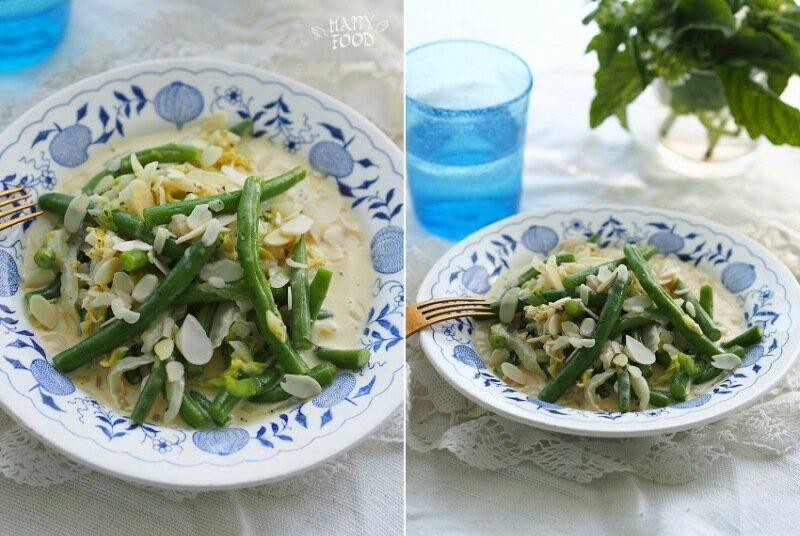 Стручковая фасоль и пекинская капуста в горчично-сметанном соусе (готовлю с посудой iCookTM)