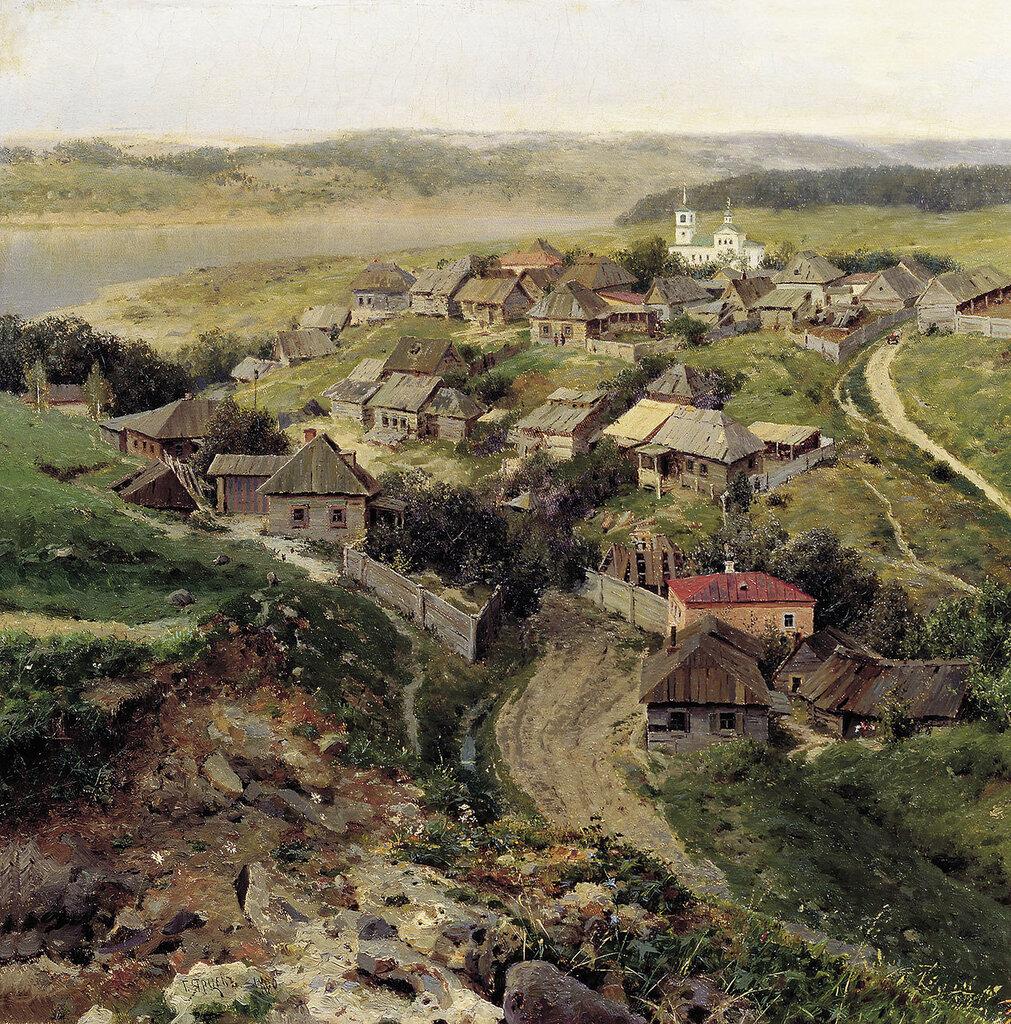 0378.Iarcev.Georgiiy.(1858-1918).Selo.1890.holst.maslo.43h43.sm.jpg