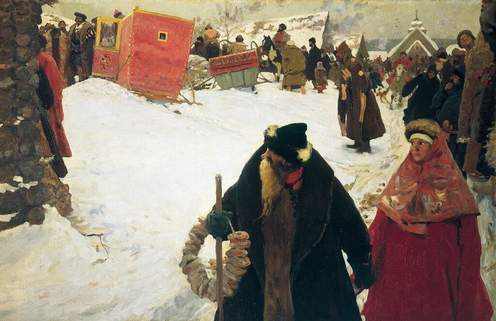0391.Ivanov.Sergeiy.Priezd.inostrancev.XVII.vek.1901.holst.maslo.152h232.sm.jpg