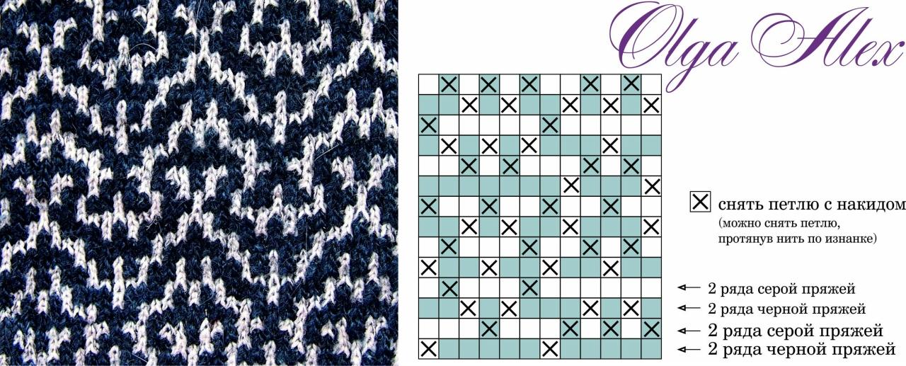 Ленивый жаккард схемы для вязания спицами