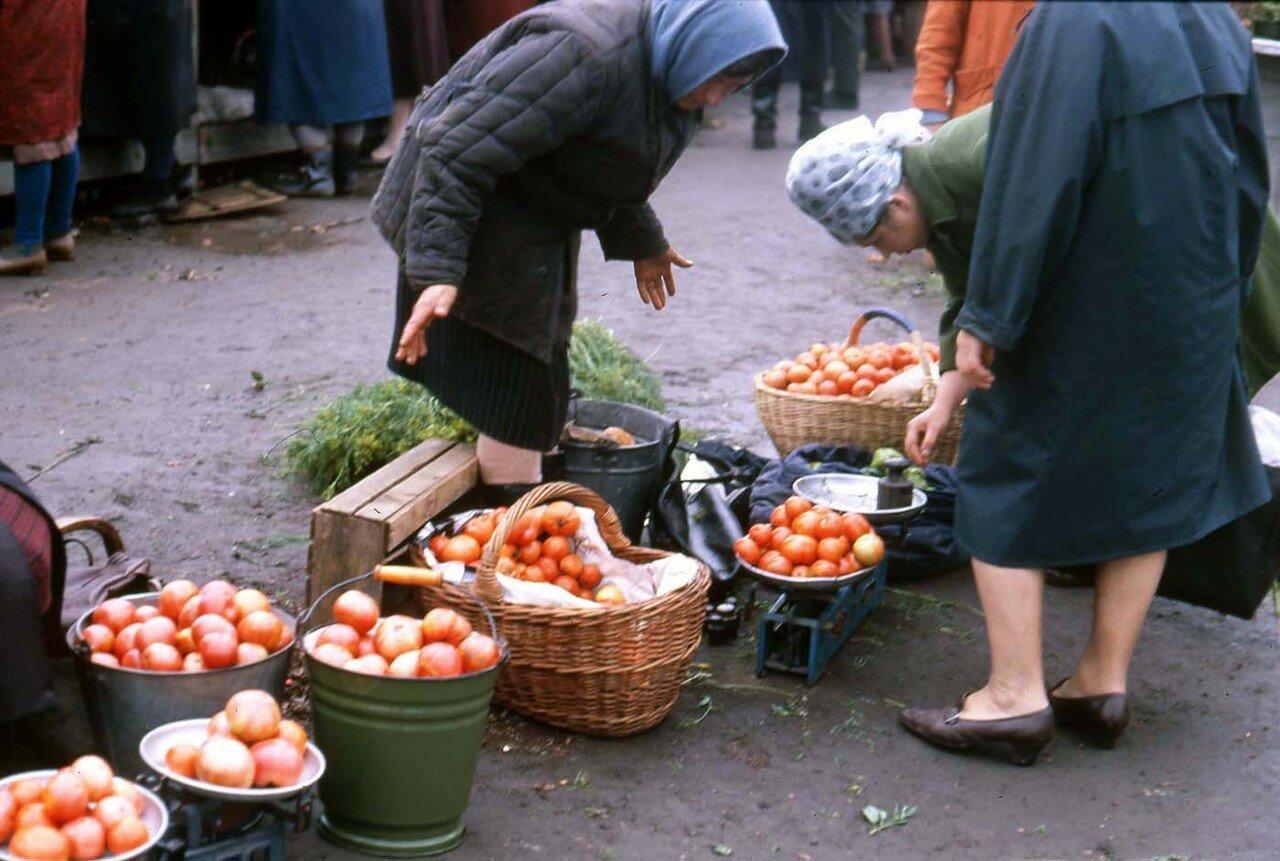 15. Новосибирск.  Женщина продает помидоры на уличном рынке
