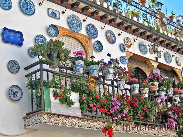 декор балкона цветы декоративные тарелки этника